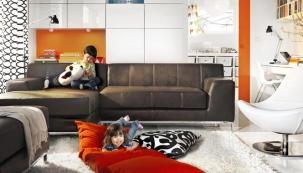 Obývací pokoj v malém bytě