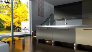 GRENA | Kuchyňská dvířka | Tvar L 01 | Vysoký lesk | Grafit metal, Champagne metal