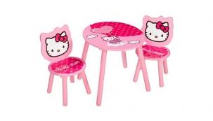 Dětský stolek a židličky Hello Kity, výška stolečku 50 cm, výška sedáku 24 cm, cena 1 777 Kč, www.toys-kids.cz