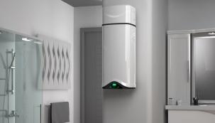 Moderní technologie sdůrazem na co největší energetické úspory a tedy i šetrný přístup kživotnímu prostředí se promítly do ohřívače vody na bázi tepelného čerpadla Ariston Nuos Evo. Na obrázku závěsná varianta.