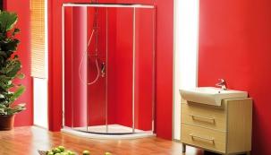 Sprchová zástěna Sigma, čiré sklo, čtvrtkruh 80 x 80 cm, cena 8 990 Kč, www. sapho-koupelny.cz