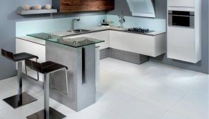 Kuchyně CREATIV, ostrůvek z nábytkářského betonu.