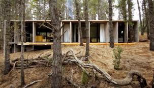 Přízemní stavba zpohledového betonu vyrůstá zmírně svažitého terénu azdálky se ztrácí vestínu lesa.
