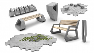 Presbeton na FOR ARCH: Zvolené tvarosloví pavilonu se odvolává na prezentovanou, nově navrženou sérii městského mobiláře Hex s jeho dlažebním systémem. Pavilon představuje pomyslný proces vzniku – čedičovou skálu, která vznikla vykrystalizováním žhavého magmatu do šestiúhelníkových forem. Hexagonální geometrie se tak propisuje do samotného zadláždění – designu prezentované série Hex.