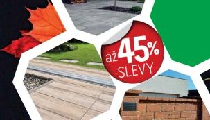 PRESBETON nabízí do konce října slevu až 45% na nákup vybraných druhů dlažeb v různých barvách a formátech, několika typů zdicích tvarovek a kamenů či různě tvarovaných palisád a obrubníků.