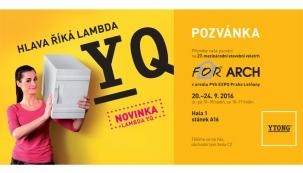 Společnost Xella CZ, výrobce kompletního stavebního systému Ytong, zve odbornou veřejnost na 27. mezinárodní stavební veletrh For Arch, který se koná 20. až 24. září 2016 v Pražském veletržním areálu Letňany.