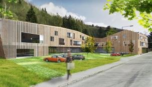 Polyfunkční dům Ski & Mt. bike Apartments ve Vrchlabí je zajímavou budovou s neotřelým designem, inspirovaným severskou architekturou s přírodními materiály, které harmonicky zapadají do malebného horského prostředí.