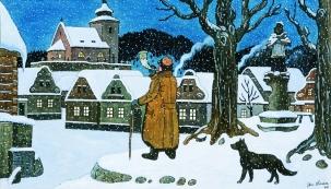 Josef Lada,  Ponocný (Štědrý den), 1944, kvaš, karton, 36,5 x 58,5 cm, soukromá sbírka (Zdroj: Příspěvková organizace Chvalský zámek)