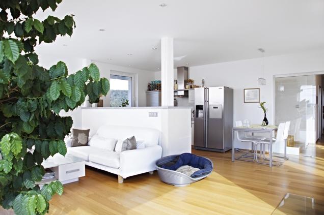 Zvýšený pult odděluje prostor kuchyně od obývací části.