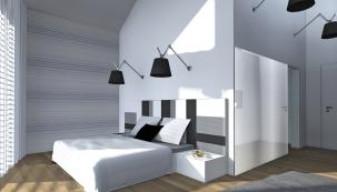 Jedna stěna je akcentována lehce proužkovou vliesovou tapetou shorizontální linií pro optické snížení vysokého stropu, protilehlá stěna je zatmavena barvou.