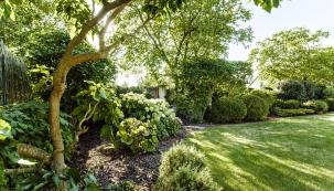 Vzhledem kumístění domu téměř uprostřed zahrady jsou výsadby realizovány  především po obvodu pozemku, kde napomáhají k odclonění ruchu z okolní komunikace.