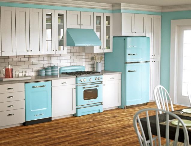 Mezi nejzajímavější retro kuchyně patří bezesporu kuchyně amerického typu zpadesátých, šedesátých asedmdesátých let. Schéma je prosté. Dominuje jedna zteplejších barev (žlutá, zelená, modrá, oranžová), která je doprovázena barvou bílou.