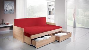 Rozkládací postel Trio lze objednat v mnoha dezénech.