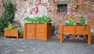 Dřevěné vyvýšené květináče patří mezi nejoblíbenější. Oproti plastovým či keramickým působí daleko přirozeněji.