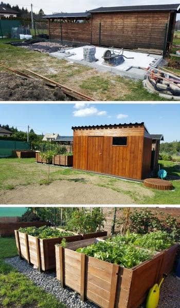 """Projekt č. 36: Zahradní domek a vyvýšené záhony - Helena Zemková: """"Naším projektem roku byla realizace zahradního domku a vyvýšených záhonů v nevyužité části zahrady. Začali jsme v březnu, fotky dokončených plánů zasílám."""""""