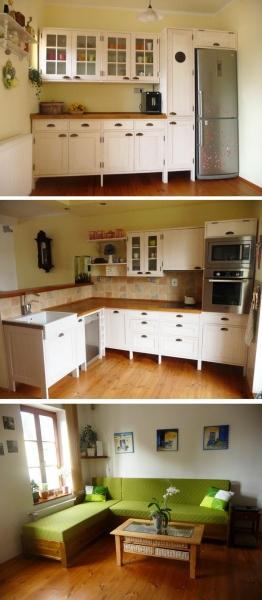 """Projekt č. 38: Po deseti letech nová kuchyně - Roman Sajfríd: """"Po 10 letech jsme se rozhodli pro novou kuchyni. Manželka si ji navrhla a společně s kamarádem truhlářem jsme si ji zhotovili. Dřevo jsem si sám vydrásal, aby vynikla jeho struktura, ostré hrany zjemnil a manželka ji natřela. Jsme rádi, když si můžeme sami na svém nábytku alespoň trochu zapracovat. Spotřebiče jsme neřešili, ty původní fungují, a proto není třeba je měnit za jiné. Dále Vám zasílám i pár fotek z našeho obývacího pokoje, kde máme stejným způsobem dělaný nábytek a sedací soupravu na míru a dle našich představ..."""""""