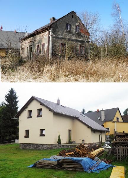 """Projekt č. 41: Přestavba domu - Lucie Heroutová: """"Dlouho jsme chodili kolem objektu na kterém stál polozřícený dům. Pozemek se nám velmi líbíl jeho rozlohou a místem jako takovým. Tak nějak se stále přemýšlelo o tom, co by bylo lepší: zda dům zbourat a postavit novým, nebo alespoň zanechat původní obvodové zdivo. Po poradě se statikem jsme se rozhlodli pro druhou variantu a pak se to rozjelo! Než byl hotový projekt a stavební povolení, tak jsme nejprve měli fúru práce s nepořádkem, který byl uvnitř. Nebralo to konce – než jsme se dostali k podlahám a zdem, trvalo měsíce... Pak přišlo bourání, sundavání staré střechy, kopaní podlah, přistavování až po budování našeho snu... Letos po roce a půl jsme vše dokončili a chystáme se kolaudovat. Byla to fuška, ale stálo to za to!"""""""