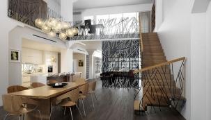 Dřevěné schodiště ukotvené do boční stěny doprovází působivé zábradlí s grafickými motivy, které jsou sladěné s dekorem skla v interiéru (JAP)
