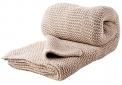 Vlněný pletený pléd HS Devon béžový, 80 % vlny, 20 % polyamidu, 130 x 240cm, www.luciadecor.cz