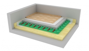 Těžká plovoucí podlaha s podlahovým vytápěním (ISOVER)