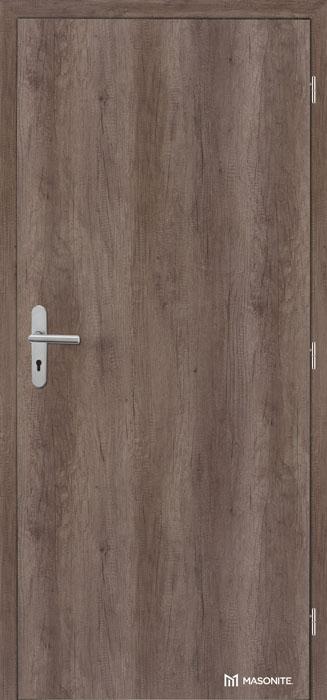 Certifikované dřevěné protipožární dveře MASONITE LUME EXTRA Safety Acoustic v bezpečnostní kategorii B2 s odpovídajícím kováním musí být v plné verzi, ale povrchová úprava je vyrobena na přání zákazníka (zde povrch CPL Premium Nebraska). Každé protipožární dveře se identifikují bezpečnostním štítkem.