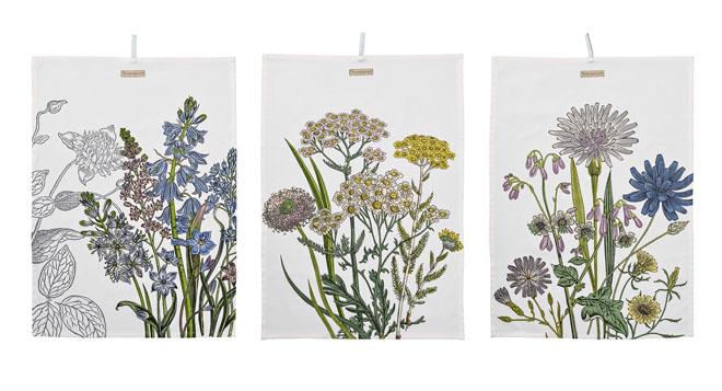 Utěrky Botanic spotiskem lučního kvítí, 50 x 70cm, Bloomingville, www.bloomingville.cz
