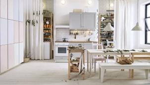 Kuchyň Knoxhult se dvěma skříňkami s dvířky a zásuvkami, provedení melaminová fólie, Ikea, www.ikea.cz