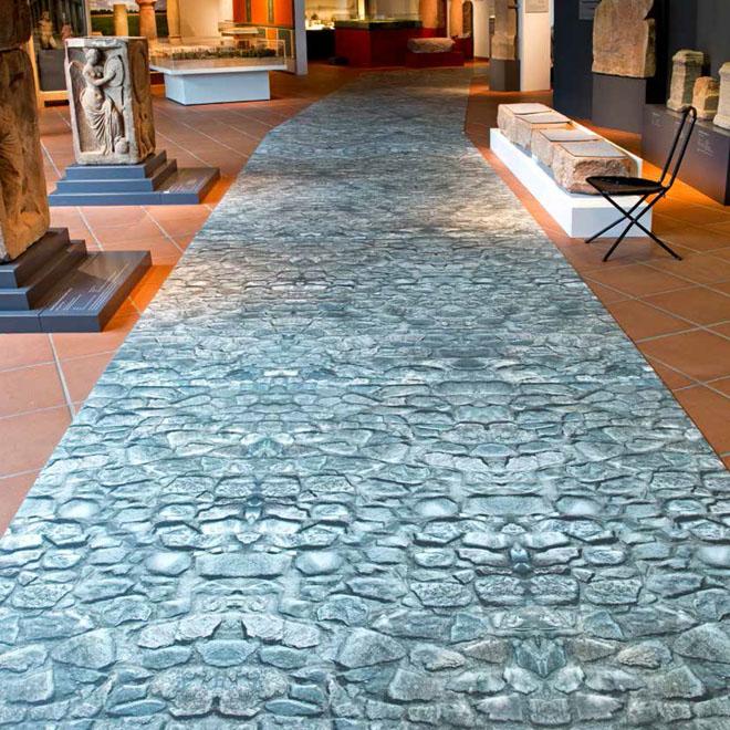 PURLINE Digital: Antická cesta z římské dlažby v Muzeu Reiss-Engelhorn v Mannheimu (Zdroj: KPP)