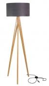 V jejich stylu: Stojací lampa zkolekce Tripod, masivní dubový stojan, stínidlo zjemné látky napoloprůsvitném plastu, výška 155 cm, Lusito, cs.bohemia-design-market.com