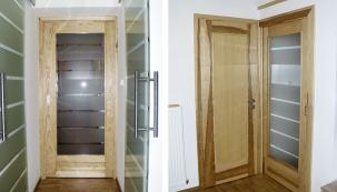 VLEVO: Postranách chodbičky jsou osazeny dveře posuvné pokolejnici, vyrobené zleptaného skla. Nezaberou místo achodba je velmi světlá; VPRAVO: Dveře zasouvané dopouzdra mají efektní výplň zlepeného skla sdekorem zčirých (průhledných) amatných pruhů