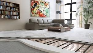 Topné rohože či kabely Ecofloor ve vrstvě tepelně vodivého materiálu (anhydrit, beton…) jsou vhodné zejména pro systémy hlavního vytápění (FENIX)