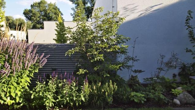 Zeď z betonových tvárnic a jednu stranu oplocení zakrývá dřevěná horizontální treláž.