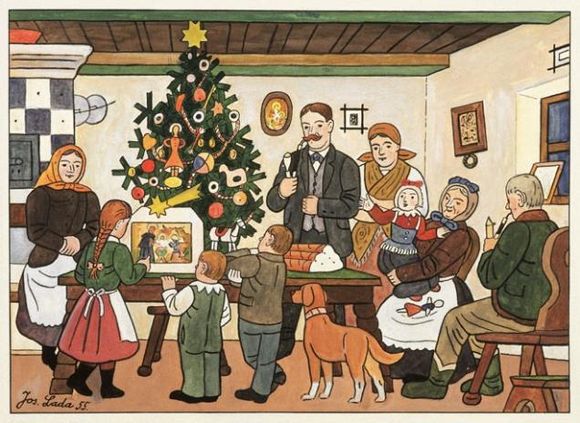 Josef Lada: U vánočního stromku (Galerie Tančící dům)