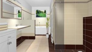 Koupelnové studio zpracovalo vizualizaci koupelny spoužitím obkladů adlažeb RAKO  vteplých barvách anávrh se nám hned zalíbil. Vyhovuje nám, že koupelna má samostatnou vanu apohodlný bezbariérový sprchový kout. Podlahové vytápění instalované pod dlažbou je velmi příjemné, máme ale itopný žebřík nasušení ručníků.