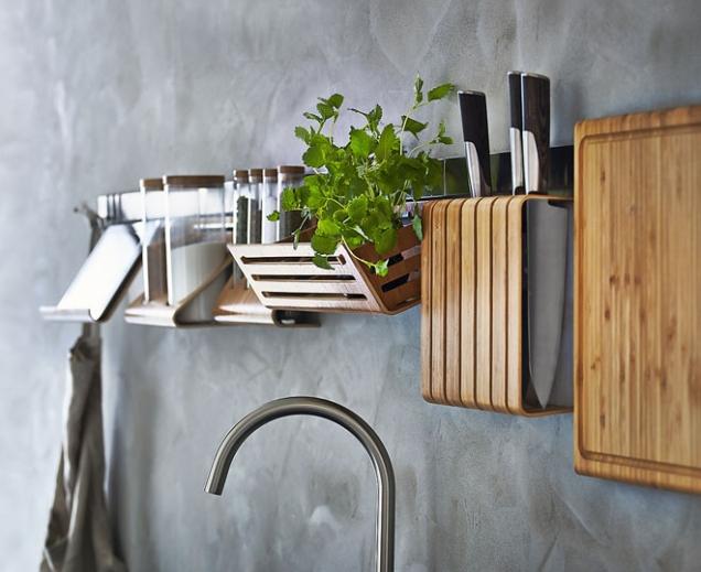 Kuchyňský nástěnný organizér Rimforsa sdoplňky ze skla, nerezavějící oceli abambusu (IKEA)