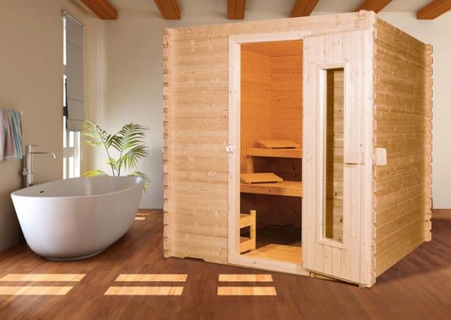 Jednoduchá finská sauna Beskyd 2 splňuje vplném rozsahu požadavky nakvalitní saunování, obložení severský smrk, lehátka severská osika, šířka 220cm, hloubka 220cm, www.hornbach.cz