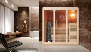 Finská sauna Espoo Lora, obložení alavice zčerveného cedru, kdispozici vetřech velikostech, zde vrozměru šířka 180 cm, hloubka 170 cm, www.saunahouse.cz