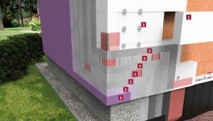 Řez zateplovacího systému Baumit Power: 1. Tepelněizolační deska Baumit EPS-F, 2. Fasádní hmoždinka, 3. Disperzní stěrka s aramidovými vlákny Baumit PowerFlex, 4. Sklotextilní síťovina Baumit StarTex, 5. Základní nátěr Baumit UniPrimer, 6. Silikonová fasádní omítka SilikonTop (Zdroj: BAUMIT)