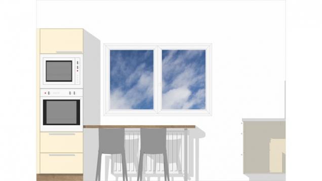 Stůl pro dvě osoby je navržený tak, aby byl mělčí, ale zůstal pohodlný pro stolování, azároveň tak, aby se pod něj daly pohodlně zasunout jídelní židle.