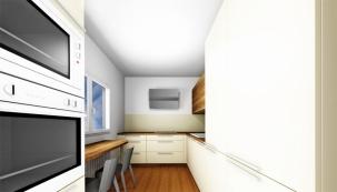 Hlavním designovým prvkem je digestoř navržená navolné stěně bez rušivých prvků okolo, což jí dává krásně vyniknout. (Vizualizace: JN INTERIER)
