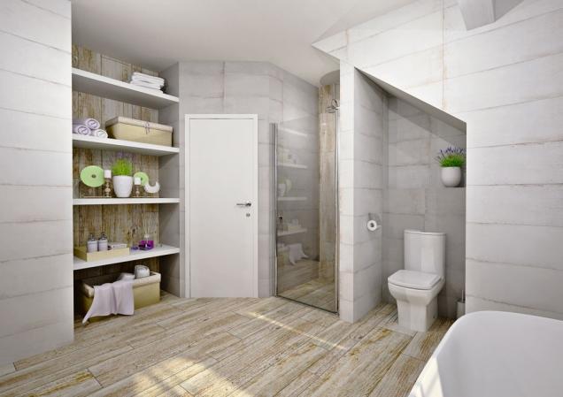 Pozice WC asprchového koutu zůstává nezměněna. Nově navržené police poskytnou dostatečný asnadno přístupný úložný prostor.