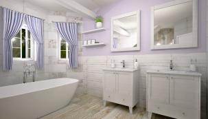 Světlé barvy, přírodní textury alehká patina jsou znaky typické pro styl jižní Francie. Díky tomu může itato koupelna působit vzdušně apřirozeně.