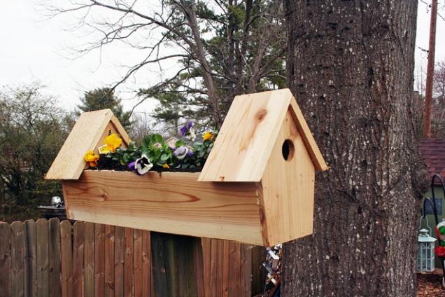 10. Kvetoucí dvojdomek: I v oblasti ptačího bydlení se občas objeví novinka, například kombinace budek a truhlíku s maceškami.