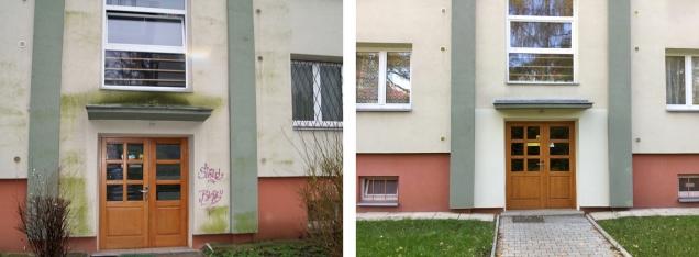 Fasáda před ošetřením a po něm (Zdroj: Servisfasad.eu)