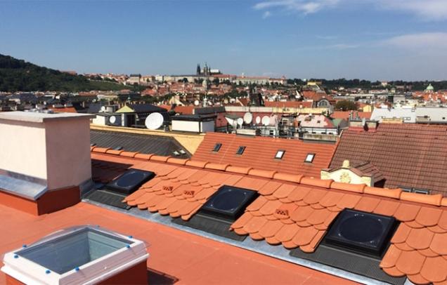 Veřejné stavby: 1. místo - rekonstrukce střechy půdní nástavby v Praze – Nové Město (Zdroj: TONDACH)