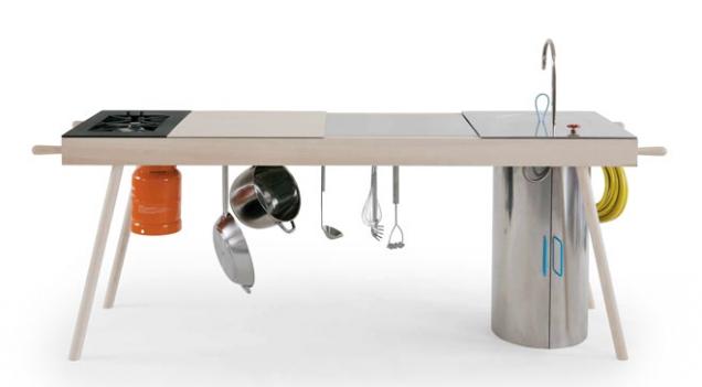 Kompaktní kuchyně Critter vychází ztrendu moderního nomádství alze ji snadno přemisťovat podle potřeby, designElia Mangia, Skitsch, cenanadotaz, www.skitsch.it