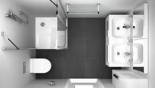 Optimální prostorově úsporné řešení obdélníkové koupelny cca 160 × 210cm. Koupelnová série Chrome značky Ravak nabízí kompletní avariabilní sortiment vybavení od umyvadel přes WC mísy až po nábytek adoplňky vjednotném designu.