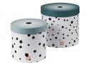 5. Set úložných boxů Happy Dots, Ø 26 x 25 cm, Ø 22 x 21 cm, potahovaná lepenka, Done By Deer, cena 824 Kč, www.mayali.cz
