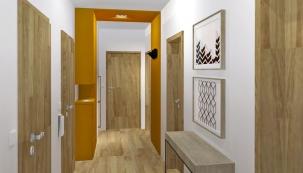 Předsíň je prostor, jehož zařízení ovlivní kvalitu celého bydlení. Pokud se sem nepodaří umístit úložné prostory, je třeba pro ně najít místo tam, kde to není příliš vhodné ani praktické. Budoucí předsíň čtenářky představovala navíc centrum, kterým je třeba při přesunu z jedné místnosti do druhé vždy projít. (Vizualizace: Vaida Kraus)