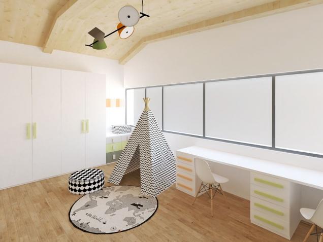 Aby bylo jasno, že prostor patří klukům, vybavila ho designérka indiánským teepee, které se objevuje také navzoru tapety.